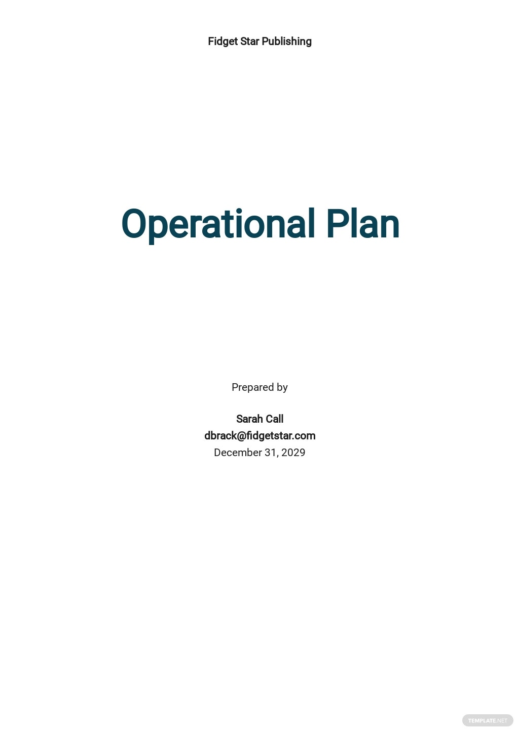 Sample Operational Plan Template
