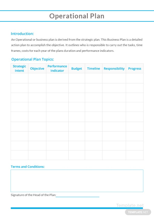 Sample Operational Plan Template In Microsoft Word Template