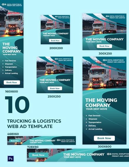 Trucking Logistics Web Ad Template
