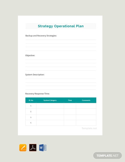 Free Simple Operational Plan Template
