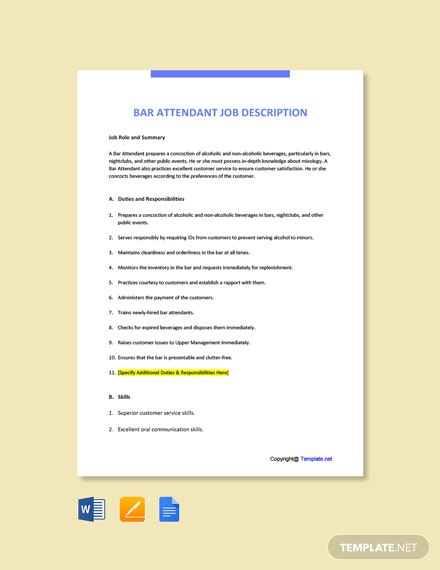 Free Bar Attendant Job Description Template