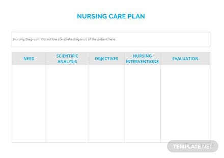 Blank Nursing Care Plan Template In Microsoft Word Apple Pages Pdf