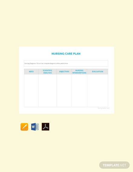 Free Blank Nursing Care Plan Template Download 138 Plans In Word