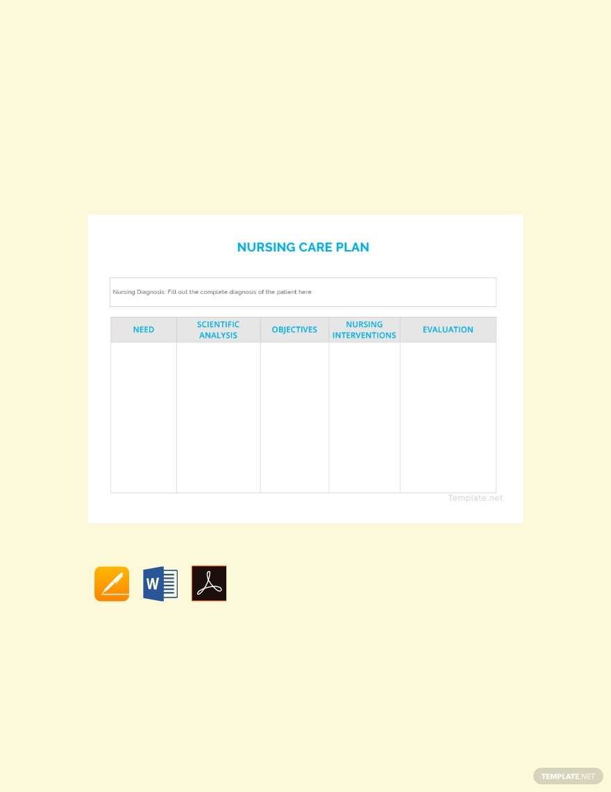 Free Blank Nursing Care Plan Template