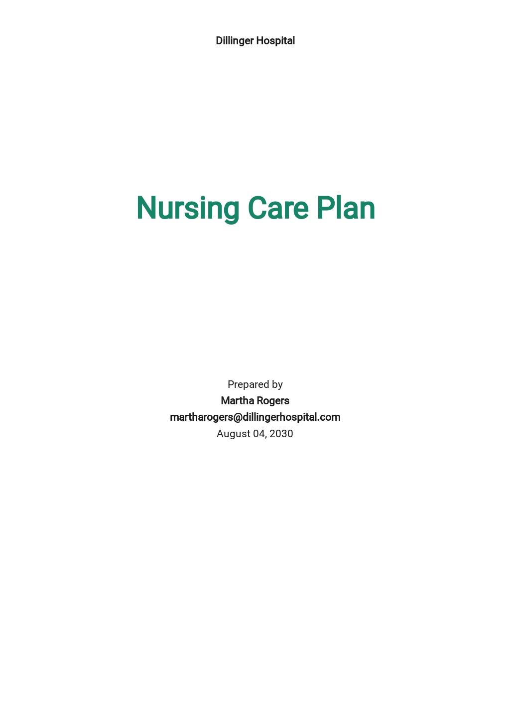 Blank Nursing Care Plan Template