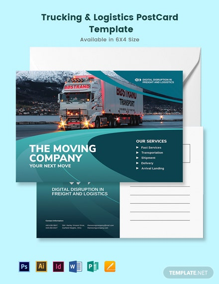 Trucking Logistics Post Card Template