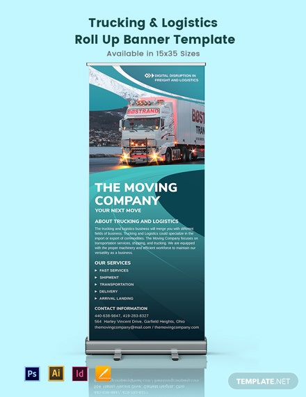 Trucking Logistics Roll Up Banner Template