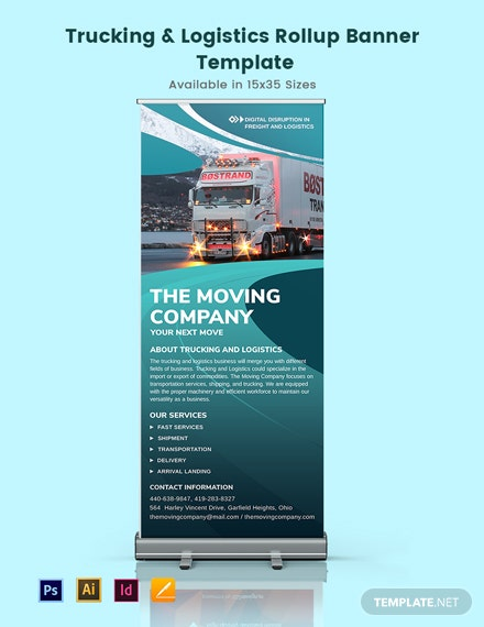Trucking Logistics Rollup Banner Template