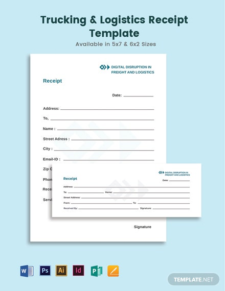 Trucking Logistics Receipt Template