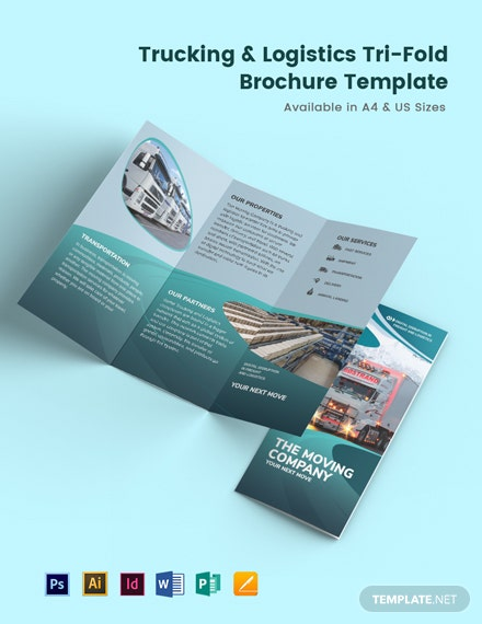 Trucking Logistics Tri-Fold Brochure Template