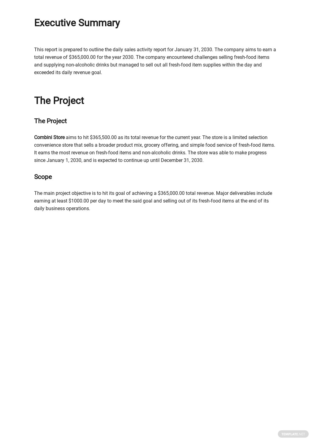 Free Daily Sales Activity Report Template 1.jpe