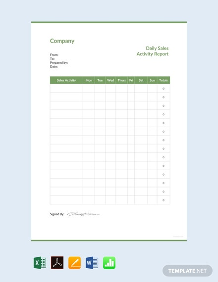 free daily sales activity report template  download 542