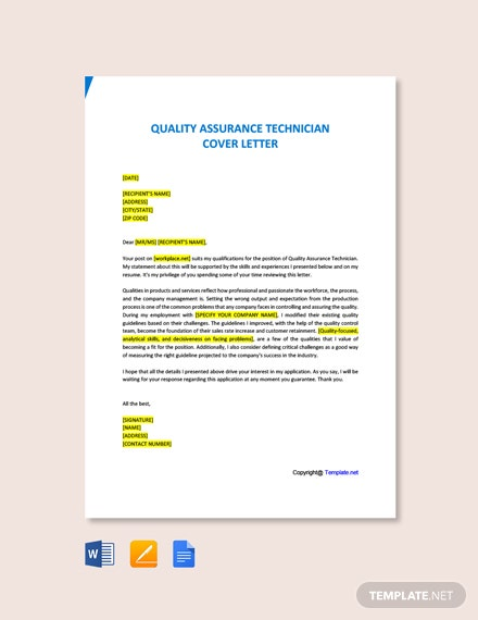 Free Quality Assurance Technician Cover Letter Template