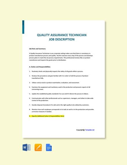 Free Quality Assurance Technician Job AD/Description Template