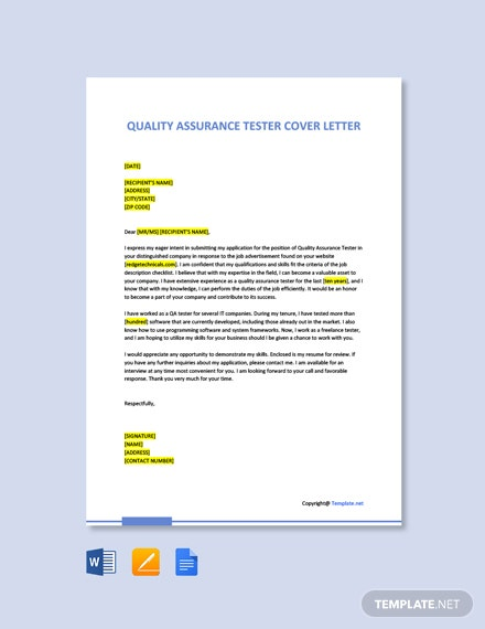 Free Quality Assurance Tester Cover Letter Template