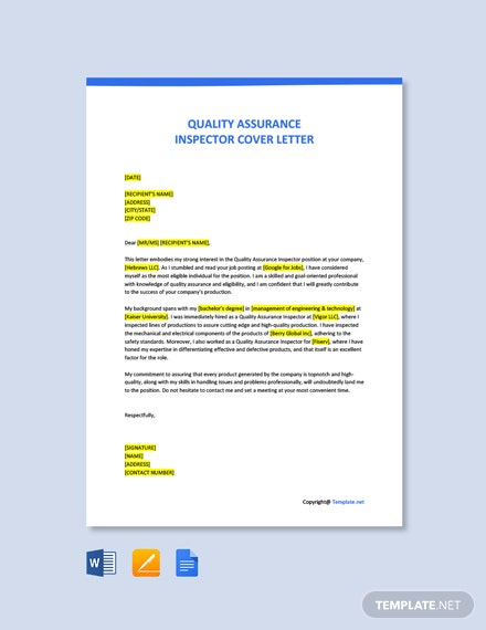 Free Quality Assurance Inspector Cover Letter Template