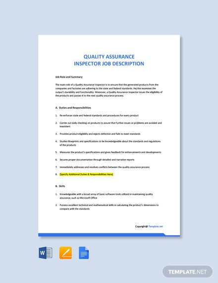 Free Quality Assurance Inspector Job Description Template