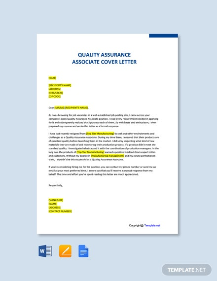 Free Quality Assurance Associate Cover Letter Template