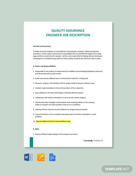 Free Quality Assurance Engineer Job AD/Description Template