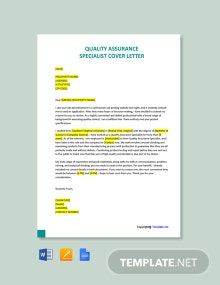 Free Quality Assurance Specialist Cover Letter Template