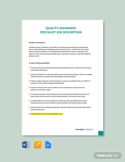Free Quality Assurance Specialist Job Ad/Description Template