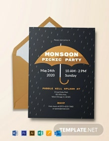 Free Monsoon Picnic Party Invitation Template