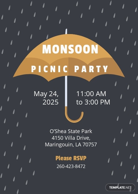 Monsoon Picnic Party Invitation Template