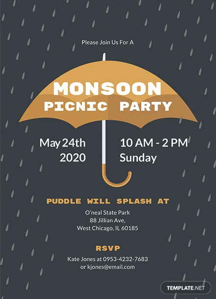 free monsoon picnic party invitation template  download