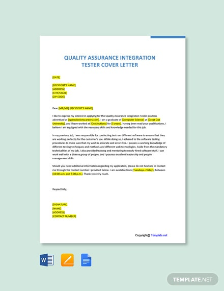 Free Quality Assurance Integration Tester Cover Letter Template