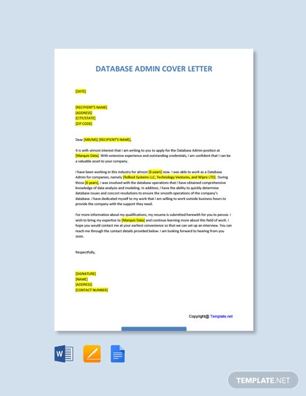 Free Database Admin Cover Letter Template
