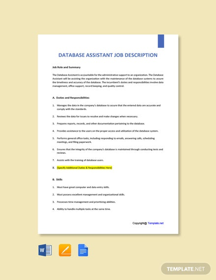 Free Database Assistant Job Description Template