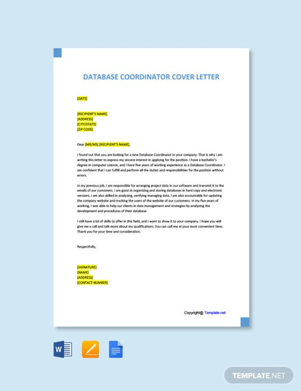 Free Database Coordinator Cover Letter Template