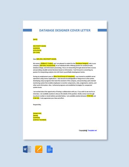 Database Designer Cover Letter