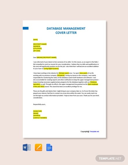 Free Database Management Cover Letter Template