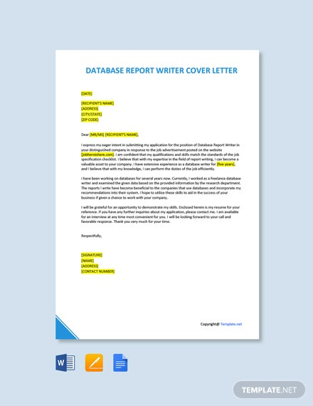 Free Database Report Writer Cover Letter Template
