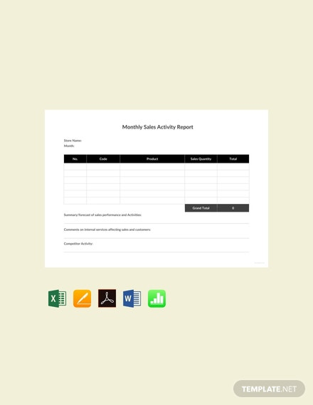 Free Monthly Sales Activity Report Template