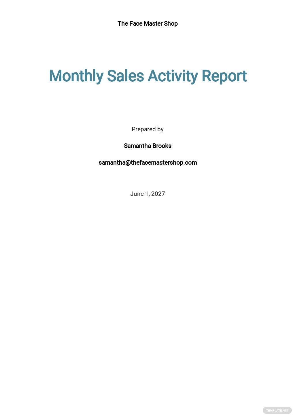 Monthly Sales Activity Report Template [Free PDF] - Google Docs, Google Sheets, Word