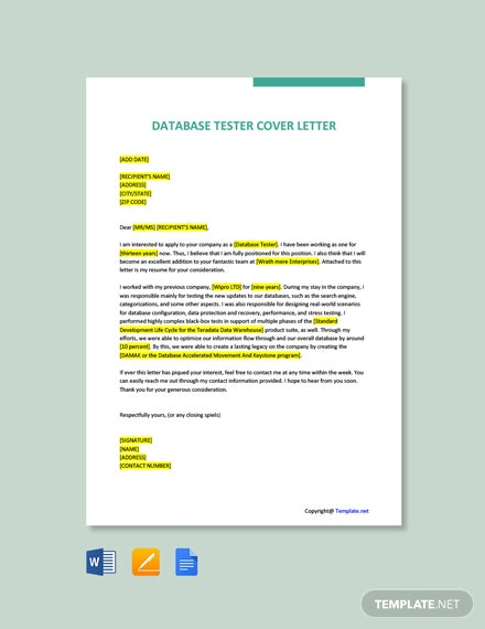 Free Database Tester Cover Letter Template