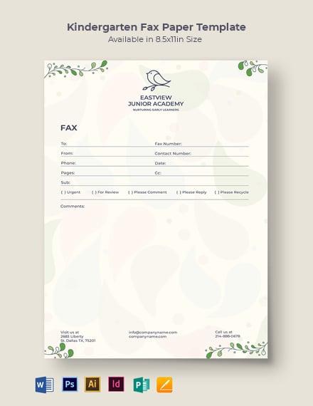 Kindergarten Fax Paper Template