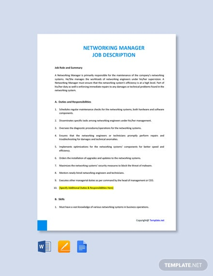 Free Networking Manager Job Description Template