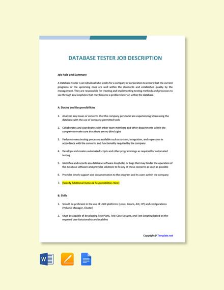 Free Database Tester Job Ad/Description Template
