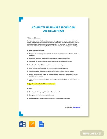 Free Computer Hardware Technician Job Ad/Description Template