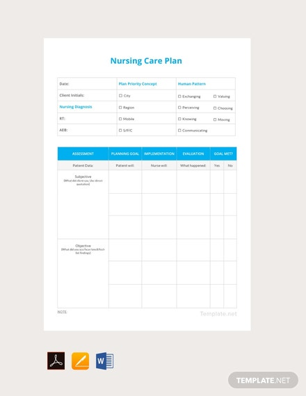 FREE Printable Nursing care plan Template - PDF | Word ...