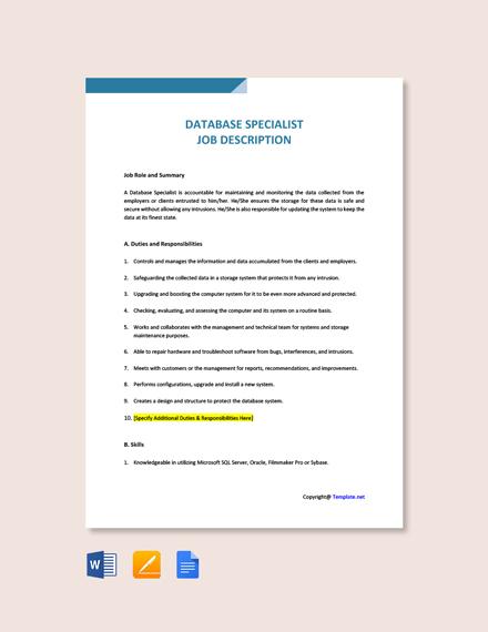 Free Database Specialist Job Ad/Description Template