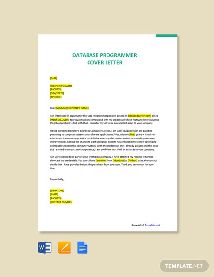 Free Database Programmer Cover Letter Template