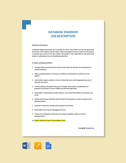 Free Database Engineer Job Description Template
