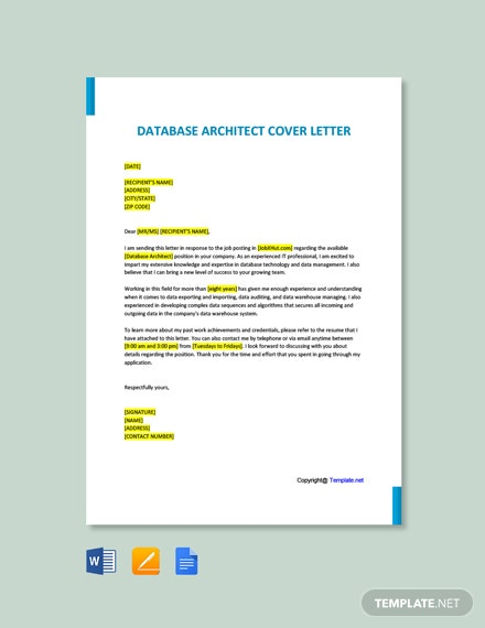Free Database Architect Cover Letter Template