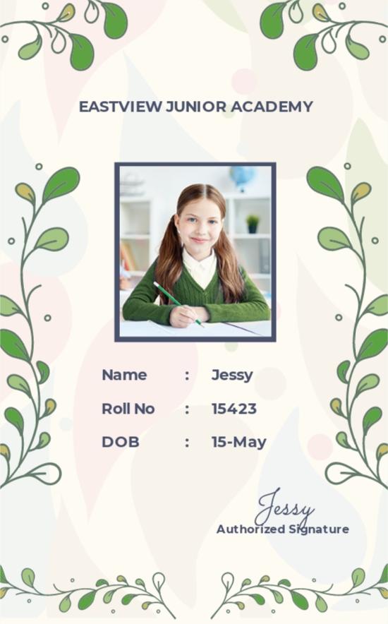 Kindergarten ID Card Template