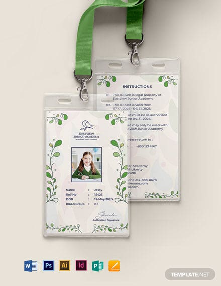Kindergarten ID Card Template