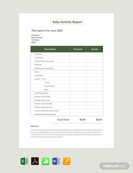 Free Sales Activity Report Sample